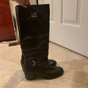 Black Coach Boots - Size 7.5